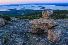Puesta del sol del parque nacional del Acadia Fotografía de archivo