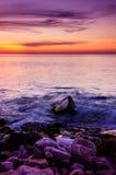 Puesta del sol pasada del invierno Foto de archivo libre de regalías