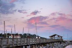 Puesta del sol del paseo marítimo foto de archivo libre de regalías
