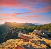 Puesta del sol del pico de Garbi en Calderona Sierra Valencia imagenes de archivo