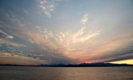Puesta del sol pintoresca en Puget Sound Imagen de archivo