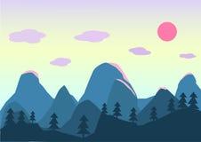 Puesta del sol plana del cielo del bosque de la montaña del paisaje del estilo Fotografía de archivo