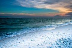 Puesta del sol - playa de Miramar Foto de archivo libre de regalías