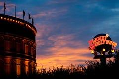 Puesta del sol por el Colosseum Fotografía de archivo libre de regalías