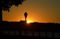 Puesta del sol por el Hudson Foto de archivo