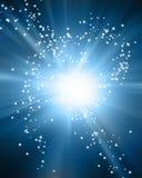 Puesta del sol que brilla intensamente ilustración del vector