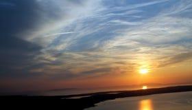 Puesta del sol que mira el Pag Imagen de archivo libre de regalías