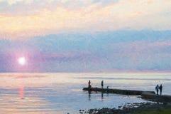 Puesta del sol que recolecta en la pintura de Torekov Digital fotografía de archivo libre de regalías