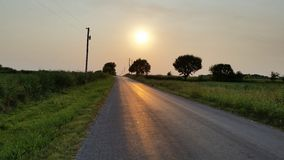 Puesta del sol que va abajo Fotografía de archivo