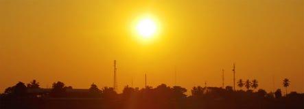 Puesta del sol, río de Mae Kong, Laos Imagen de archivo