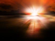 Puesta del sol roja fotografía de archivo