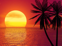 Puesta del sol roja stock de ilustración