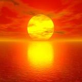 Puesta del sol roja asombrosa Foto de archivo libre de regalías