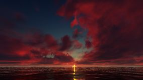 Puesta del sol roja en el océano Imagen de archivo libre de regalías