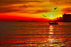 Puesta del sol roja en el pavo de Estambul del mar imagen de archivo libre de regalías