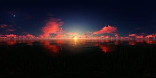 Puesta del sol roja en un lago Fotografía de archivo libre de regalías