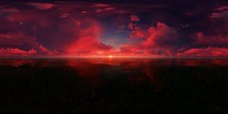 Puesta del sol roja en un lago Foto de archivo libre de regalías
