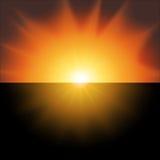 Puesta del sol roja en un vector negro del fondo Imagen de archivo