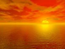 Puesta del sol roja sangrienta sobre el agua 3d del océano rendida Imagen de archivo