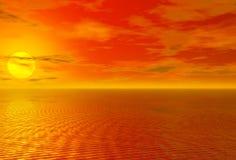 Puesta del sol roja sangrienta sobre el océano y el cielo nublado stock de ilustración