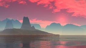 Puesta del sol roja sobre un lago de la montaña libre illustration