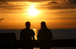 Puesta del sol romántica Fotografía de archivo