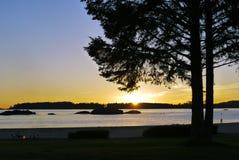 Puesta del sol romántica Foto de archivo libre de regalías