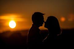 Puesta del sol romántica fotos de archivo libres de regalías