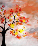 Puesta del sol romántica con un árbol Imagen de archivo