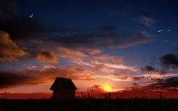 Puesta del sol romántica de la fantasía Imagen de archivo
