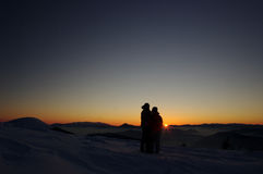 Puesta del sol romántica del invierno foto de archivo libre de regalías