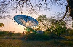 Puesta del sol romántica en Bagan, Myanmar Foto de archivo libre de regalías