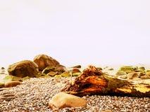 Puesta del sol romántica en el horizonte, reflejando en orilla, mar liso de la tarde, concepto del viaje Foto de archivo libre de regalías