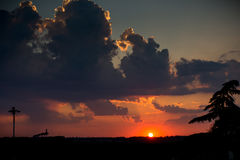 Puesta del sol romana Fotos de archivo libres de regalías