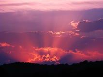 Puesta del sol rosada Imagen de archivo libre de regalías