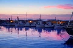 Puesta del sol rosada de Formentera en puerto deportivo del acceso Fotografía de archivo libre de regalías