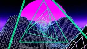 Puesta del sol rosada futurista y pirámides, lazo de VJ stock de ilustración