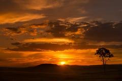 Puesta del sol rural Imagen de archivo