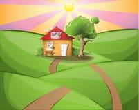 Puesta del sol rural con la casa Imagenes de archivo