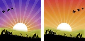 Puesta del sol/salida del sol Imágenes de archivo libres de regalías