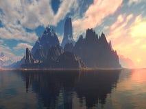Puesta del sol/salida del sol de la isla de la fantasía Foto de archivo