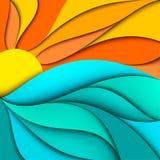 Puesta del sol. Salida del sol. El mar agita el fondo Fotos de archivo