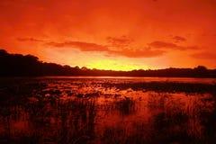 Puesta del sol sangrienta después de la tormenta del verano Fotos de archivo