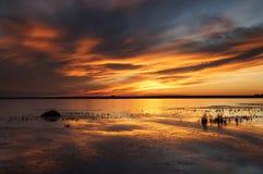 Puesta del sol Saskatchewan rural Foto de archivo