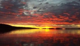 Puesta del sol septentrional de la caída Imagen de archivo