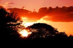 Puesta del sol shinning en campo de golf Imagen de archivo