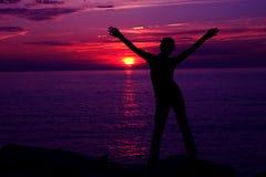 Puesta del sol Silhoette Fotografía de archivo libre de regalías