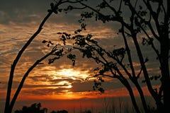 Puesta del sol silueteada bloqueada la India Foto de archivo libre de regalías