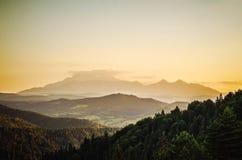Puesta del sol sobre altos tatras Imágenes de archivo libres de regalías