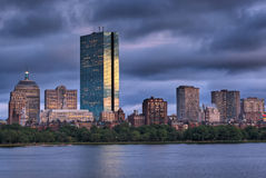 Puesta del sol sobre Boston Fotografía de archivo libre de regalías